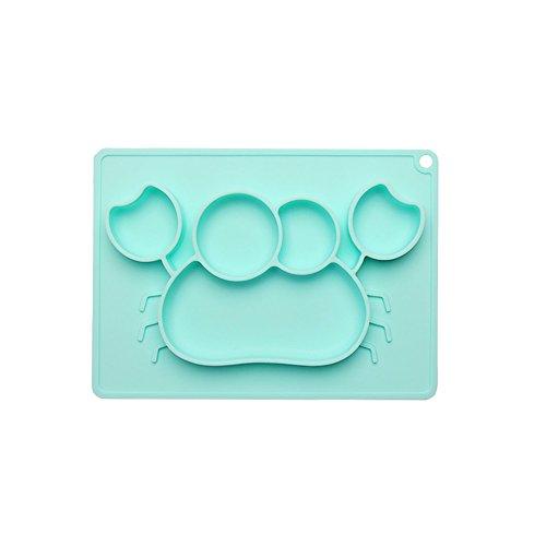 Woo Well Plato de bebé de silicona, placa de silicona antideslizante Plato Mantel de bebé de silicona, sin BPA, vajilla aprobada por la FDA, seguro para microondas y lavavajillas