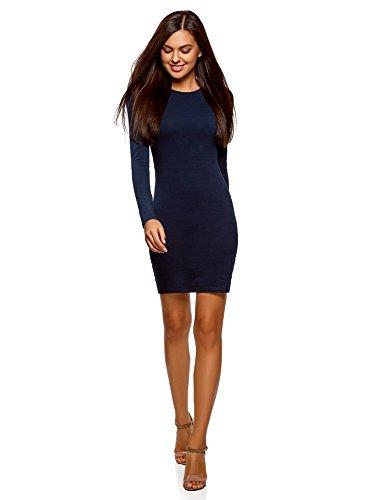 oodji Ultra Damen Enges Baumwoll-Kleid, Blau, DE 38 / EU 40 / M