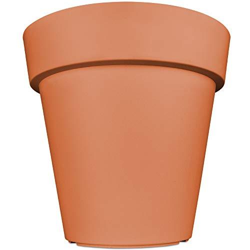 Deuba Blumentopf XXL Lofly Blumenkasten Pflanzkübel Übertopf Pflanzenkübel | Terracotta | 49x46cm | für Innen- und Außenbereiche