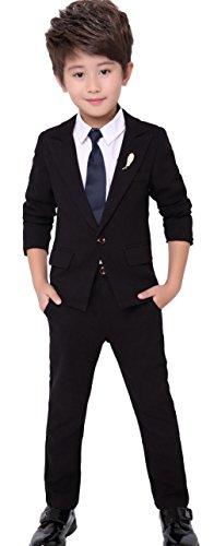 EOZY 4 Teilig Kinder Anzug Junge Festlich Taufanzug Kommunionsanzug Hochzeit Ball Schwarz Körpergröße 130cm