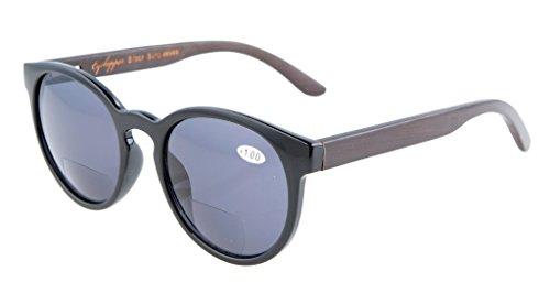 Eyekepper Qualitaet Federscharniere Holz Buegel Ovale runde bifokale Sonnenbrillen Frauen Schwarz +1.5