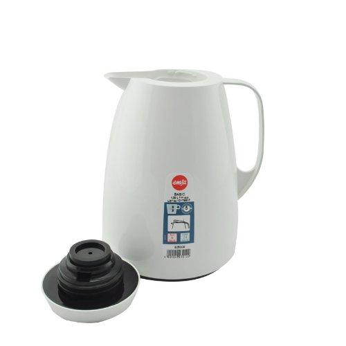 Emsa 505009 Isolierkanne, Thermoskanne, 1l Füllvolumen, Kaffeekanne, Quick Tip Verschluss, Basic in weiß -