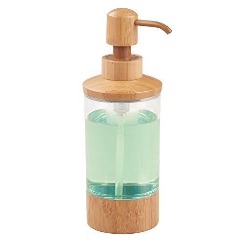 InterDesign Formbu Dispensador de líquidos, dosificador de jabón líquido de bambú y plástico, transparente/bambú