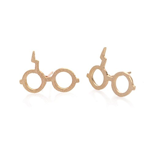 URBAN-SHe-Wizard-Glasses-Lightning-Bolt-Gold-Silver-Plated-Necklace-Earrings-Studs