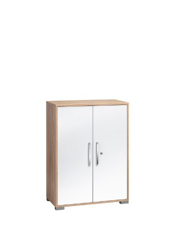 MAJA-Möbel 1226 2556 Aktenregal mit Türen, Sonoma-Eiche-Nachbildung - weiß Hochglanz, Abmessungen BxHxT: 80 x 109,7 x 40 cm