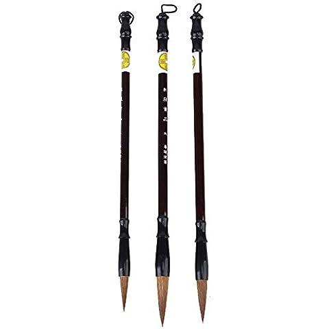 WEONE Pack de 3 Excelente lobo de pelo chino de la caligrafía Kanji japonés Sumi Pincel de dibujo grande, pequeño, mediano Tamaño