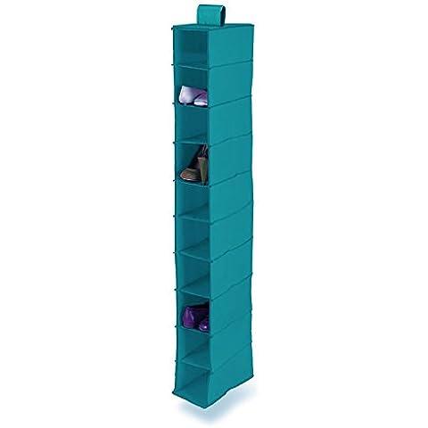 ORDINETT® Azul Ropa Percha 10Secciones Barra De Armario para colgar estantes de almacenamiento Organizador para zapatos gamuza