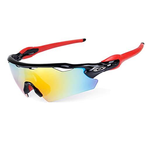 SonMo Nachtsichtbrille Schutzbrille Motorradbrille Sportbrille Snowboardbrille Skibrille Radbrille TPU+PC Schwarz Rot Schneebrille Retro Polarisierte Blendschutz mit Uv Schutz Winddicht