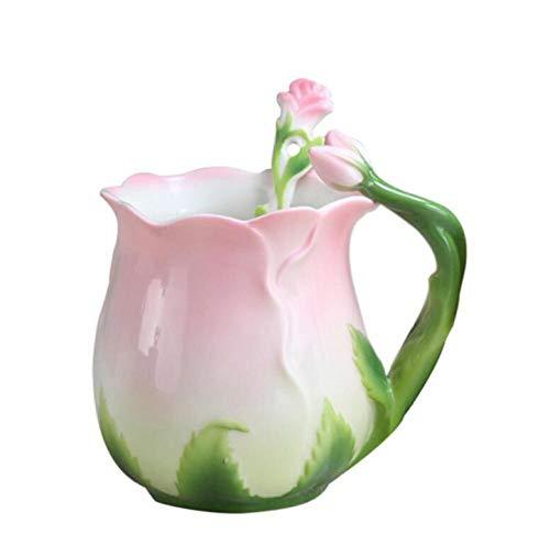 qnmbdgm Becher Tasse Europa Stil 3D Rose Blume Emaille Kaffeetasse Tee Milch Tasse Set Mit Löffel Kreative Keramik Bone China Drink -