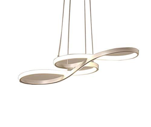 ZJG LED Esstisch Kronleuchter Dimmbar Postmodern Weiss Musikalische Symbole-Design Pendelleuchte Höhenverstellbar für Wohnzimmer Schlafzimmer Esszimmer mit Fernbedienung (61*24*30CM 32W 2700K-6000K). -