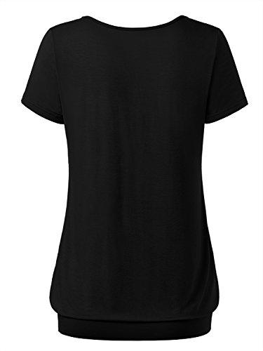 DJT Damen Basic V-Ausschnitt Kurzarm T-Shirt Falten Tops mit Knopf Schwarz