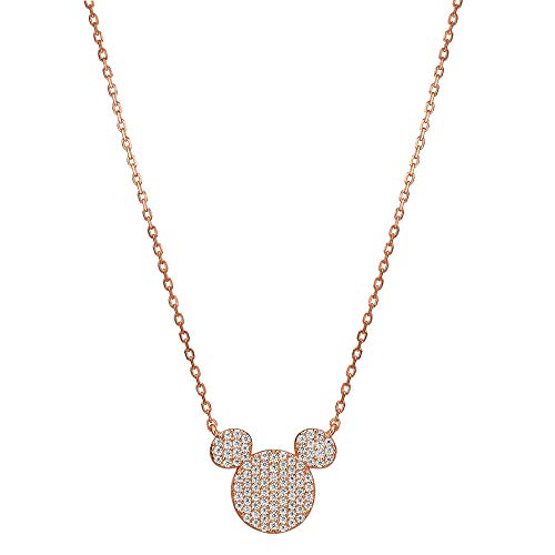 isney Mickey Mouse Sterlingsilber 952 Gold Rose Coating mit Swarovski-Kristall - weiß ()
