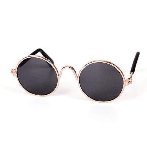 WSJF Haustier-Sonnenbrille, Haustier-Pers5onlichkeit-Zusätze, Klassische Retro kreisförmige Metallprinz-Sonnenbrille für Katzen-oder Hundemode-Kostüm-Foto-Stützen