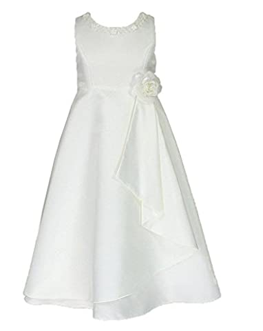 Satin Brautjungfern Anlässe Festkleid Blumenmädchen Kleid Creme Gr.122/128 (I6680-8#)