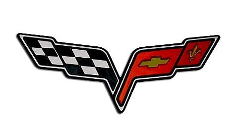MEDIUM CROSSED FLAG WING Fender Real Aluminum Auto Emblem Badge Nameplate for Chevrolet Corvette C6 05 06 07 08 09 10 11 12 13 2005 2006 2007 2008 2009 2010 2011 2012 2013 (any year model - Universal Fitment)