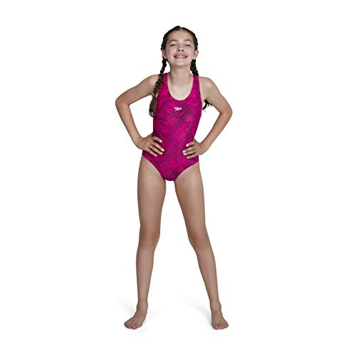 Speedo Girls Boom Allover, Bañador para niña, Multicolor Electric Pink/Black, 152 cm...
