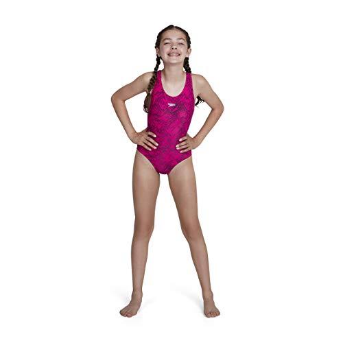 Speedo Girls Boom Allover, Bañador para niña, Multicolor Electric Pink/Black, 116 cm...