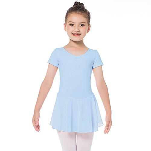 Kinder Kurzarm Ballettkleid aus Baumwolle mit Chiffon