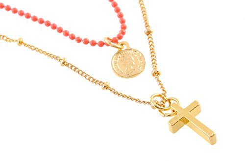 Dünne Kreuz Halskette (Kurze goldfarbene Halskette mit Kreuz - Modeschmuck - dünne Halsketten)