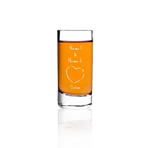 Schnapsglas zur Hochzeit mit Gravur der Namen und Datum - Herz (Hochzeit Schnapsgläser)
