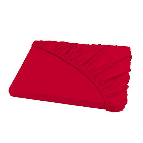 Spannbettlaken Bettlaken 200x220 cm Wasserbetten & Boxspringbetten/Spannbetttuch Spannleintuch aus Jersey Baumwolle in rot für Doppelbett-Matratzen