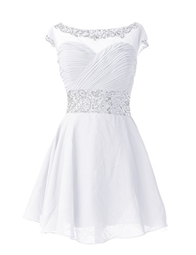 Dresstells , Forme princesse col ras du cou court/mini mousseline robe de cocktail avec emperler sequins Blanc