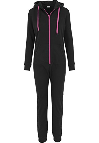 Urban Classics - Pullover Sweat Jumpsuit, Tuta intera Donna, Multicolore (Blk/Fuc), Large (Taglia Produttore: Large)
