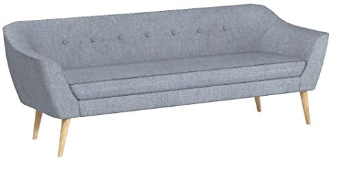 Sofa Scandi 3-Sitzer, Scandinavian Design, Couch 3-er, Couchgarnitur, Sofagarnitur, Holzfüße, Polstersofa - Wohnzimmer (Grau (Sawana 21))