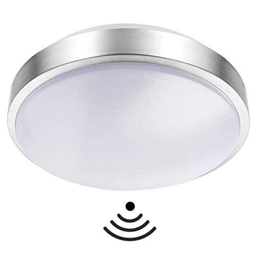 Round LED Light IP44 15W 2D Bulkhead Robust Ceiling Wall Lamp Microwave Sensor