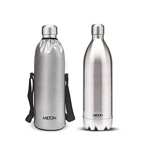 Milton Thermosteel Duo DLX-1800 Stainless Steel Water Bottle, 1.8 Litres, Steel
