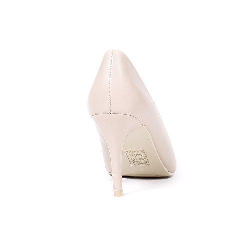 Ideal Shoes Escarpins BI-Matière à Bout Pointu Fanny Beige