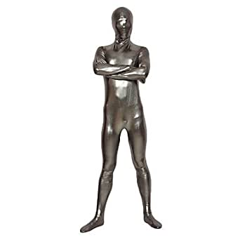 Argent Latex Full Body Shiny Zentai - M
