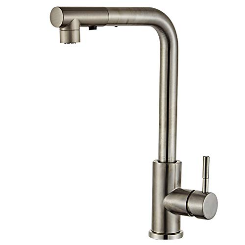 Einfach zu installieren Edelstahl Bad Wasserhahn Einhand Einlochmontage High Arc Kaltwasser Waschbecken Wasserhahn für Badezimmer, herausziehen Sprayer Mischbatterien ausziehbar 360 ° drehbar (Delta Wasserhahn Edelstahl Bad)