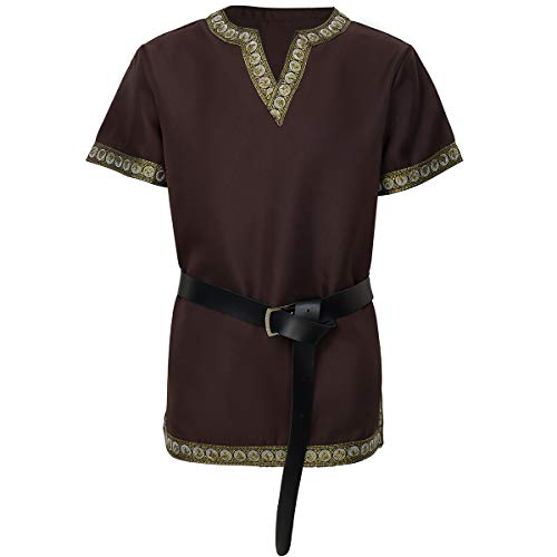 dream cosplay Túnica Medieval Traje Caballero Viking Guerrero Camiseta marrón,Medio