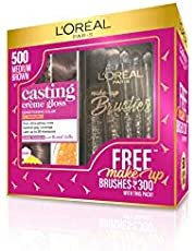 L'Oreal Paris Casting Crème Gloss Hair Color, 500 Medium Brown with Free Makeup Brushes