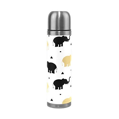 Botella de agua con diseño de elefantes de oro negro y acero...