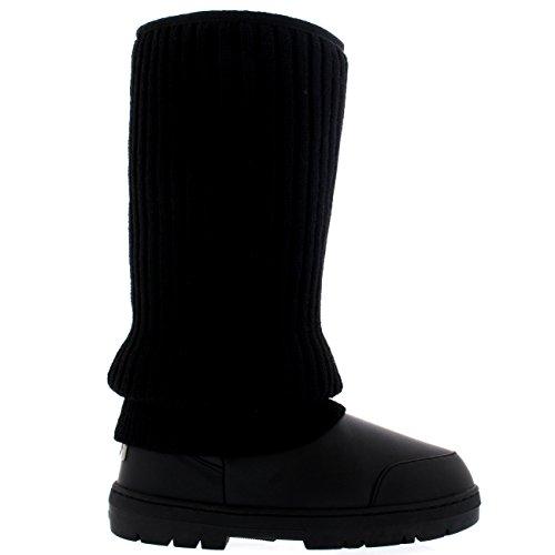 Damen Tall Knitted Cardy Hängen Winter Schnee Regen Im Freien Warm Schuh Stiefel Schwarz Leder
