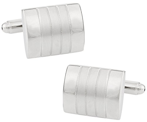 Brushed and Polished Distinctive Cufflinks in Silver with Presentation Box