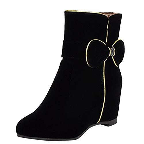 Epig Increase WithinFashion Damen Increase Bow Kurze Stiefel Wedge Ankle Zipper Mid Tube Snow Boots -