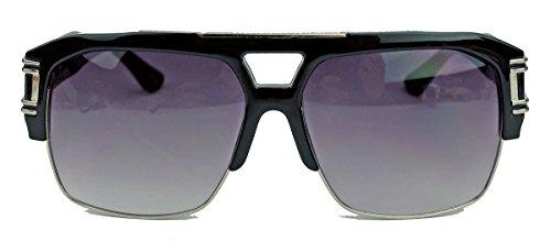 Sonnenbrille Top (Herren Flat Top Sonnenbrille 80er 90er Jahre oversized Trap Style BS71 (Schwarz / Silber))