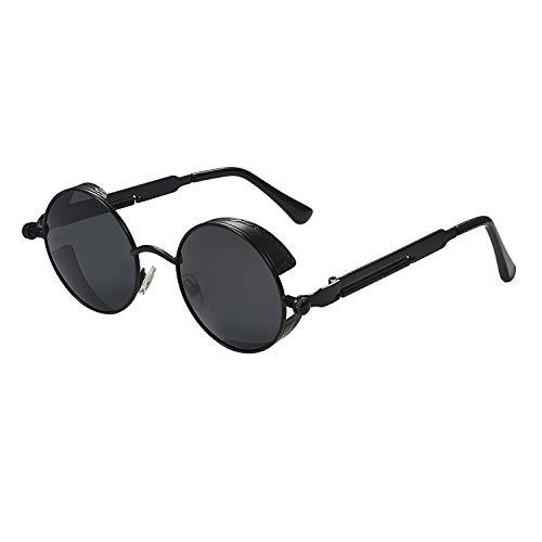 Aroncent Herren Damen UV400 Sonnenbrille, Retro Punk Rund Kreis Strahlenschutz Polarisierte Sonnenbrille, Vollrand Sonnenbrille Metallrahmen