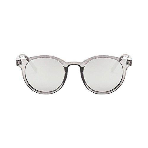 WooCo Ovale Objektiv Spiegel Sonnenbrille, Damen Herren Vintage Brille Retro Kreis Rahmen Eyewear Mode(E,One size)