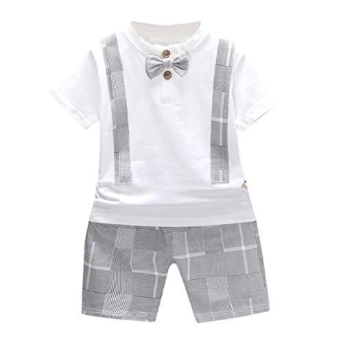 MRURIC Kleinkind Baby Jungen Bogen T-Shirt Tops Plaid Shorts Hosen Outfits Kleidung Set,Hose Hosen Taufkleid Partykleid Jungenkleidung Spielanzug Activewear Sommer Bekleidungssets