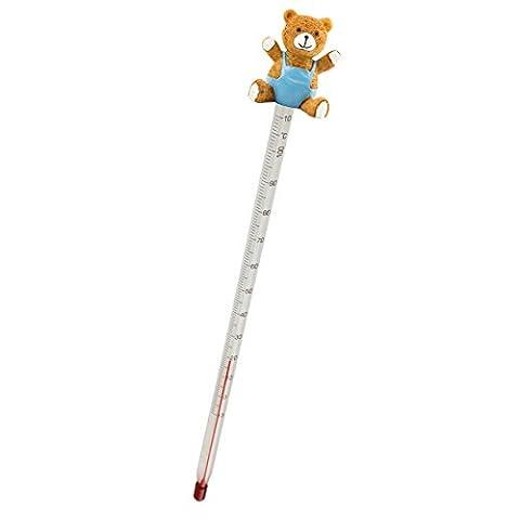 Lantelme 4392 Babyflaschenthermometer Teddybär blau, Glas / Kunststoff