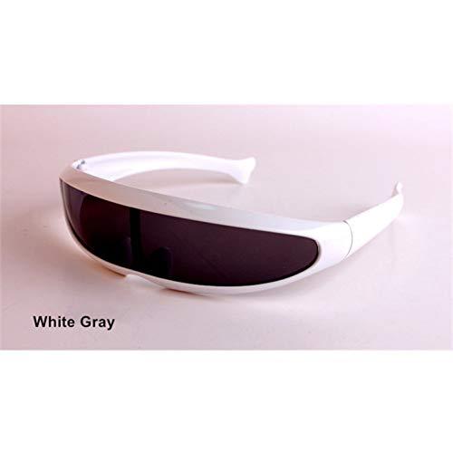 sijiaqi Lustige Alien Sonnenbrillen Männer X-Men Persönlichkeit Laser Brille Kühlen Siamesische Roboter Sonnenbrille Frauen Sonnenbrille Brille,White Gray