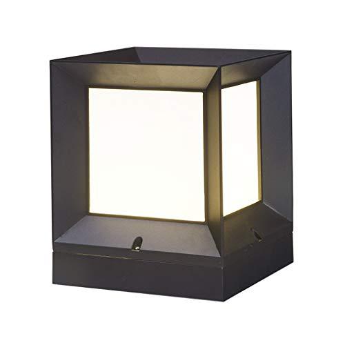 Pfostenlichter Säulenkopflicht quadratisches im Freienhoftorsäulenlicht-Landhausgarten-Wasserdichte Wandlampen-Solarleuchte Terrassen-Beleuchtung (Color : Black, Size : 16 * 16 * 17cm)