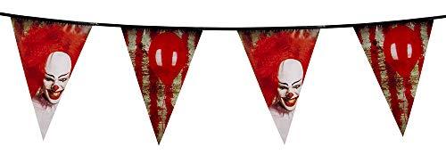 Boland Killerclown-Girlande Halloween-Dekoration rot-Weiss-schwarz 30cmx6m