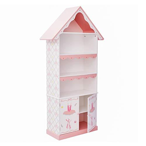 Möbel Bücherregale Bücherregal Holzregal für Kinder vierstöckiger Bücherschrank Spielzeugschrank für Prinzessinnenraum Türschrank...