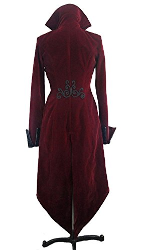 Veste femme en velours rouge avec broderies, faux 2pcs, gothique élégant aristocrate Noir