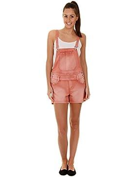 Millenium Donna - Salopette Corte - Rosso Salopette donna jeans pantaloncino overall short WOMSH06